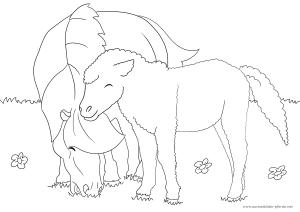 das fünfte pferd-ausmalbild mit fohlen - wie immer kostenlos | ausmalbilder pferde - viele