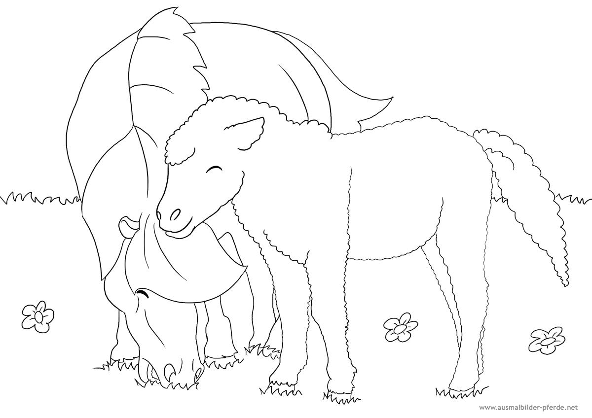 Pferdebild zum Ausmalen mit Fohlen