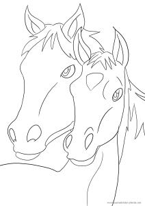 Ausmalbild Pferd mit Fohlen