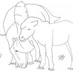 ausmalbild pferd mit fohlen Nr. 05
