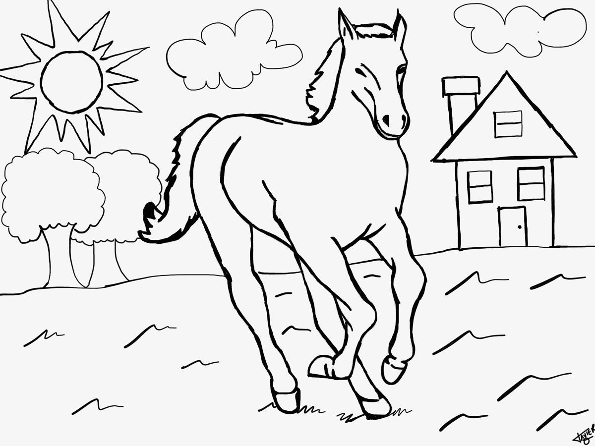 mein erstes ausmalbild mit pferd - kostenlos